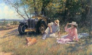Xe hơi cổ trong tranh họa sĩ Anh