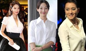 Sao gốc Hoa tươi trẻ với sơ mi trắng
