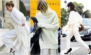 Trang phục trắng ngập tràn phố cuối năm