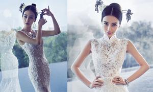 Angelababy khoe dáng với váy cưới bó sát