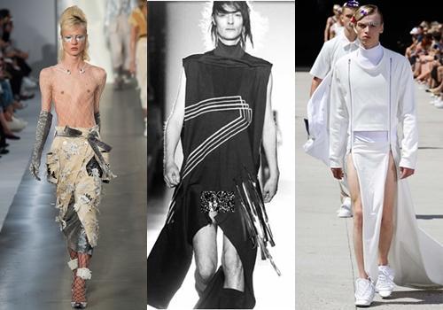 Từ trái qua: Maison Margiela, Rick Owens, Hood by Air lăng xê áo váy dành cho nam giới.