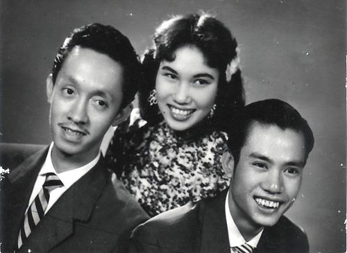 Hoài Trung, Thái Thanh và Hoài Bắc Phạm Đình Chương - các thành viên của ban hợp ca Thăng Long nổi tiếng tại sài Gòn một thời.