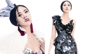 Ngọc Hân mặc váy 'giấy báo'