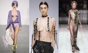 Các bộ cánh 'mặc như không' gây sốc ở bốn tuần thời trang Thu Đông