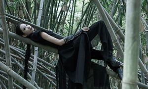 Trang Phạm uốn mình trong rừng trúc