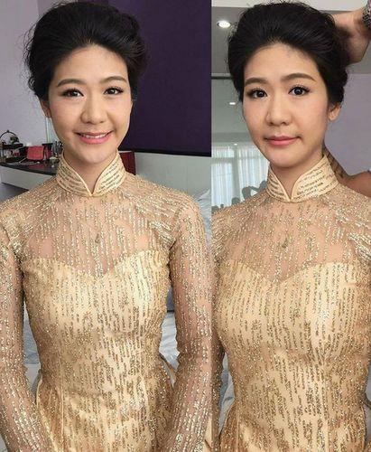 Bạn gái cơ trưởng duyên dáng thử áo dài cho lễ ăn hỏi.