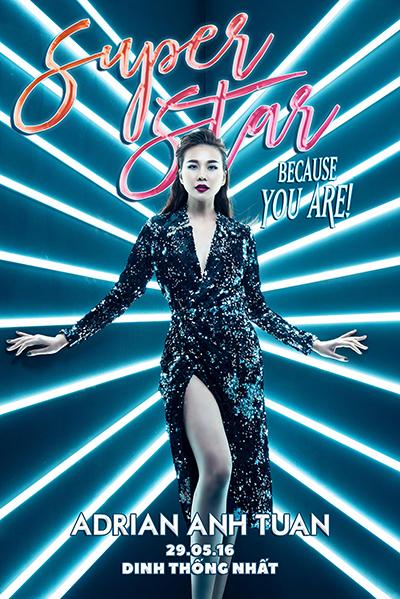 Poster show diễn của Adrian Anh Tuấn được thực hiện bởi Sơn Đoàn - bạn đời của nhà thiết kế - cùng ê-kíp. Ảnh: Trí Nghĩa