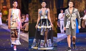 Váy áo in hình tem của ba nhà thiết kế Việt Nam
