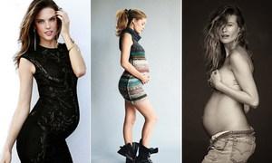 Các siêu mẫu chụp ảnh khoe bụng bầu