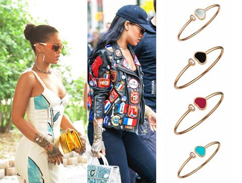 Rihanna là một tín đồ của dòng trang sức Happy Hearts. Người hâm mộ thường xuyên bắt gặp nữ ca sĩ phối chuỗi vòng tay với nhiều kiểu trang phục, khi thanh lịch quyến rũ, khi lại cá tính trẻ trung.