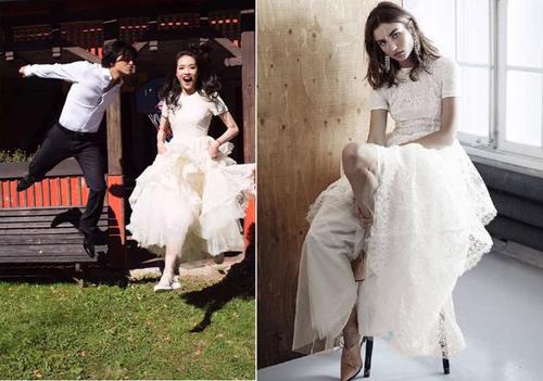 Thư Kỳ lấy chiếc váy mà hãng H&M  tặng cô năm 2014 làm váy cưới.