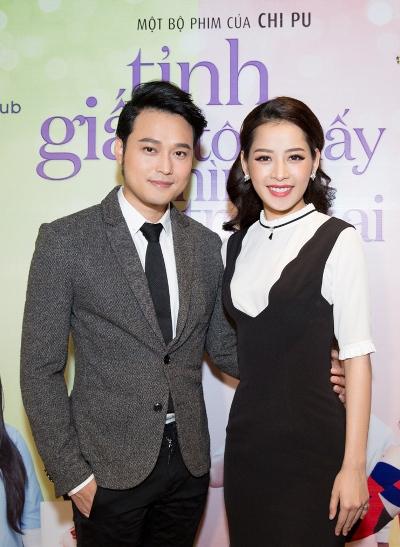 Chi Pu và Quang Vinh trong buổi ra  mắt phim. Ảnh: Hải Nguyễn.