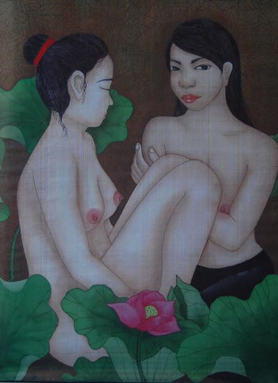 Tranh Trong hồ sen của họa sĩ Nguyễn Thị Châu Giang có giá khởi điểm 2.500 USD, sáng tác năm 2011.
