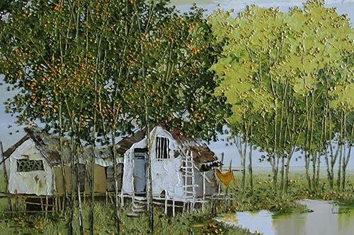 Tranh Tình quê của họa sĩ Lim Khim Katy có giá khởi điểm 2.000 USD, sáng tác năm 2015.