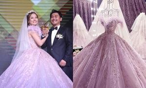 Váy cưới đính pha lê của Khánh Hiền giá 150 triệu đồng