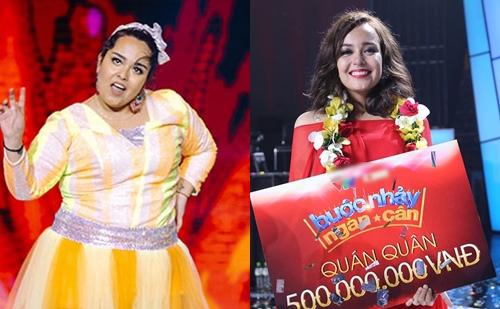 Tố Tố ở tập thi đầu (trái) cách đây 3 tháng và khi đăng quang.