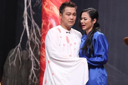 Trong Luân hồi tình án của gameshow Kỳ tài thách đấu, Lý Hùng (trái) và Việt Trinh