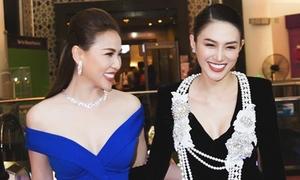 Lê Hà, Quỳnh Thư đọ dáng với váy khoét ngực