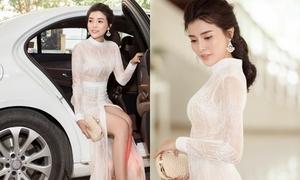 Cao Thái Hà diện váy xẻ dự sự kiện