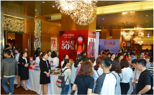 Một góc gian hàng Mỹ phẩm Shiseido tại sự kiện VStyles Private Sale.