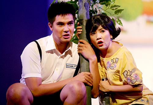 Ngọc Trinh trong  trong một vở diễn chị đầu tư dựng tại Nhà hát kịch TP HCM.