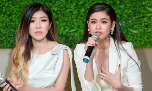 Trang Pháp và Trương Quỳnh Anh tại họp báo.
