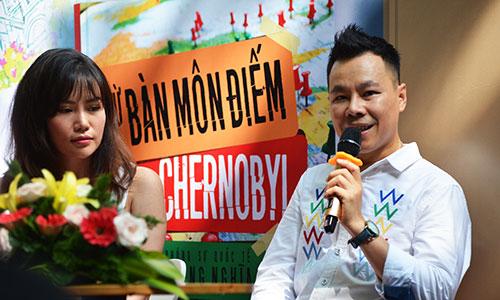 Nhà báo Trung Nghĩa - tác giả sách Từ Bàn Môn Điếm đến Chernybol - và tác giả Amanda Huỳnh tại buổi giao lưu sách.
