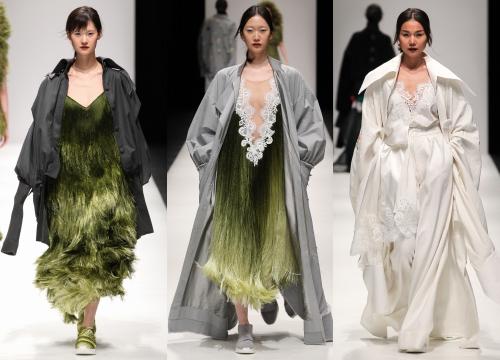 Ba mẫu trang phục mà trợ lý của Rihanna đặt hàng Công Trí. Thiết kế Rihanna mặc là mẫu áo Thanh Hằng trình diễn (phải).