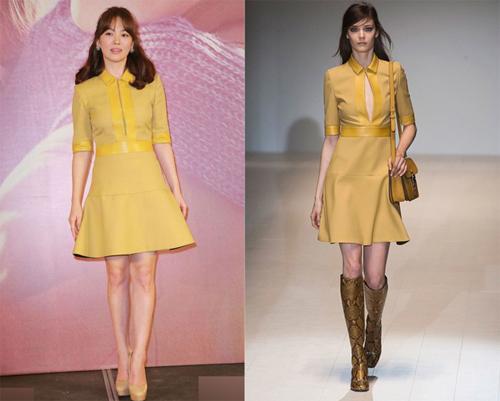 20 năm trong làng giải trí, Song Hye Kyo duy trì phong cách thời trang thanh lịch, nữ tính. Năm 2015, khi diện thiết kế xẻ ngực của Gucci, nữ diễn viên biến tấu phần ngực váy cho kín đáo hơn để phù hợp phong cách của cô.