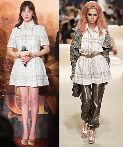 Hye Kyo mang tới vẻ thanh lịch, nhã nhặn, khác hẳn với phong cách người mẫu trên sàn diễn của Chanel.