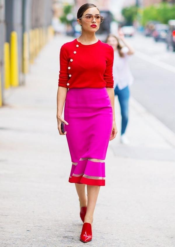 Hoa hậu Olivia Culpo mặc đẹp với váy trumpet