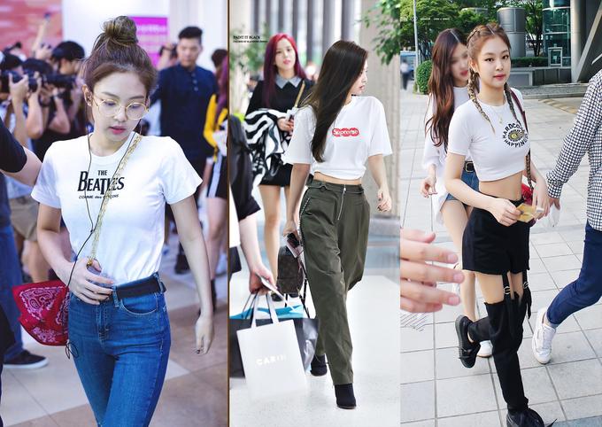 <p> Thời trang sân bay của mỹ nhân nhà YG được đánh giá năng động và sành điệu. Cô thường kết hợp áo phông với các kiểu quần thiết kế lạ mắt, khoe vòng eo nhỏ. Quần cạp cao, màu xanh quân đội (giữa) của hãng Alexander Wang có giá 525 USD (khoảng 11 triệu đồng). Các phụ kiện như túi xách, dây chuyền Louis Vuitton, ví Chanel, boots Vetements... là điểm nhấn cho loạt đồ của Jennie.</p>