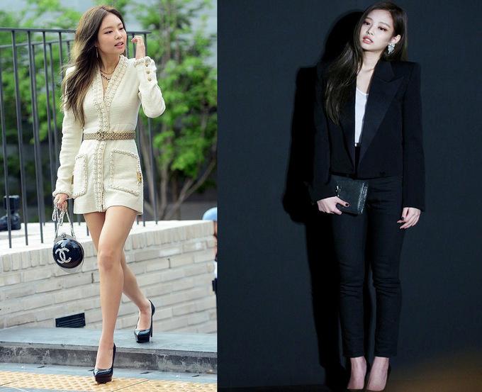 """<p> Nhờ gu thời trang sành điệu, Jennie được các thương hiệu lớn mời dự sự kiện hoặc ra mắt sản phẩm. Chiếc đầm trắng sữa (trái) được ca sĩ 9x biến tấu từ áo khoác thuộc BST Chanel Métiers d'Art 2017 - có giá hơn 10.000 USD (224 triệu đồng). Còn set đồ """"ton sur ton"""" (phải) xấp xỉ 7.280 USD (178 triệu đồng), trong đó đắt nhất là túi xách hiệu Monogram và áo vest Saint Laurent.</p>"""