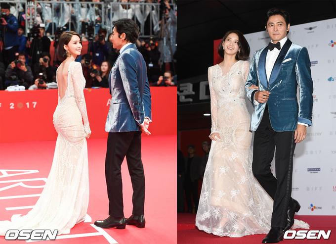 Yoona khoe lưng trần bên Jang Dong Gun trên thảm đỏ Busan