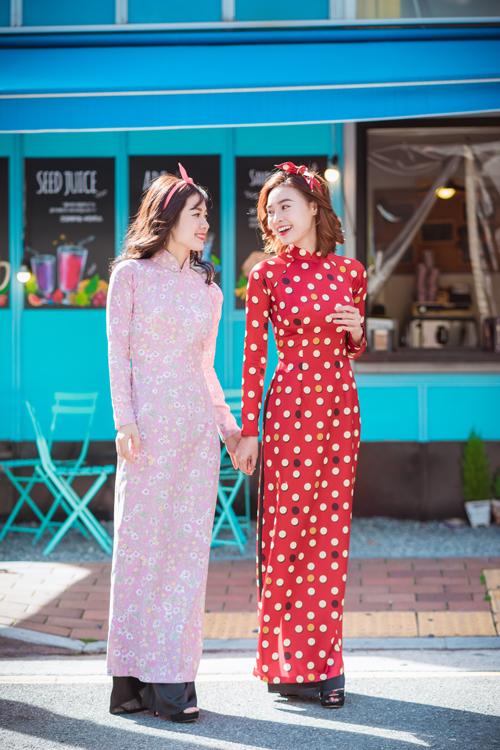 Lan Ngọc, Diễm My 9x diện áo dài trên đường phố Hàn Quốc