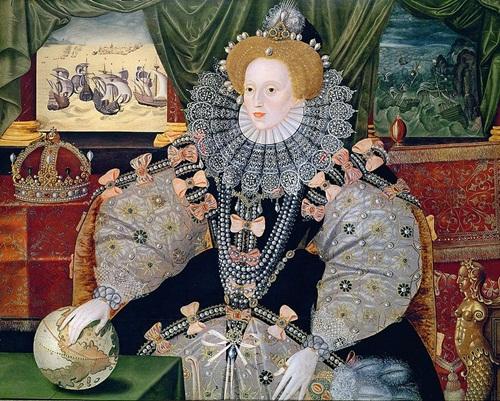 Nữ hoàng Elizabeth I và các đời nữ hoàng đổ về trước thường mặc váy áo cao cổ, tay phồng uy quyền.