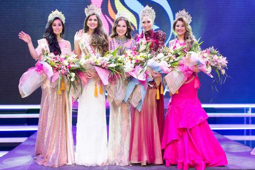 Hoa hậu Phương Lê cùng các người đẹp trong top 5.