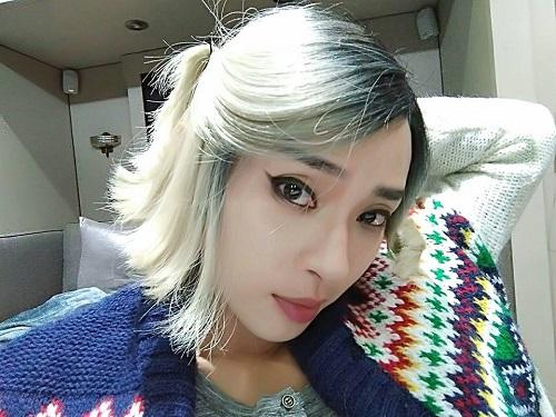 Ngô Thanh Vân khoe mái tóc bạch kim trong lúc quay Bright.
