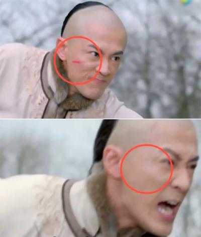 Phim Độc bộ thiên hạ có cảnh nhân vật nam bị thương do mũi tên khi đang cưỡi ngựa. Tuy nhiên chạy được một lúc, vết thương trên mặt chàng biến mất.