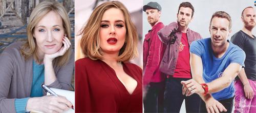 Nhà văn J.K Rowling, Adele và nhóm Coldplay có thu nhập cao nhất nước Anh 2017.