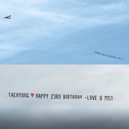 Phi cơ chở thông điệp mừng sinh nhật V (Kim Tae Hyung) tại Los Angeles.