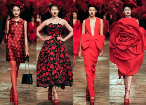 100 thiết kế ấn tượng của Đỗ Mạnh Cường trong 10 năm sự nghiệp được tái hiện trên sàn diễn với màu đỏ.