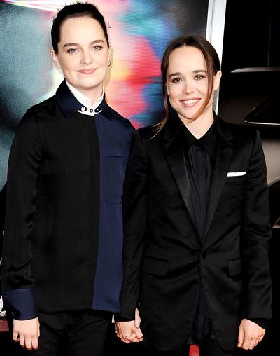 Ellen Page (phải) và bạn đời Emma Portner.