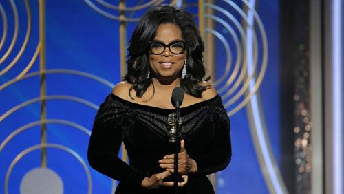 Oprah Winfrey có bài phát biểu dài về nạn lạm dụng tình dục khi lên nhận giải thành tựu trọn đời.
