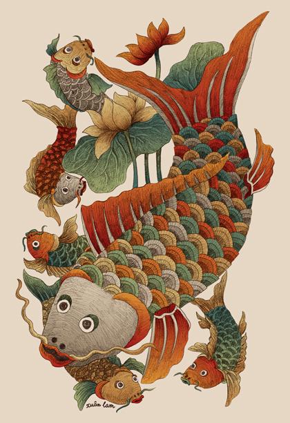 Cá đàn tranh dân gian Đông Hồ.