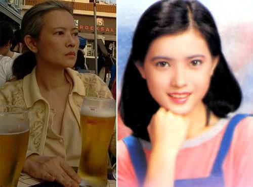 Diễn viên Lam Khiết Anh thời trẻ và hiện tại.