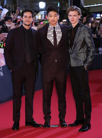 Bryan OBrien, Ki Hong Le và Thomas Brodie-Sangster (phải) là ba diễn viên duy nhất của đoàn phim tham gia quảng bá tại Hàn Quốc.
