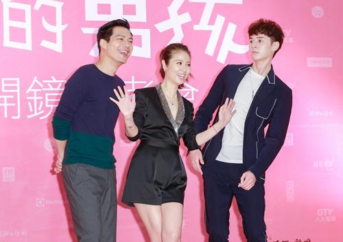 Cao Thánh Viễn, Lâm Tâm Như, Trương Hiên Duật (từ trái sang) - dàn diễn viên phim Chàng trai của tôi.