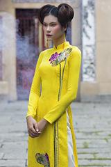 Quán quân Next Top Kim Dung diện áo dài hoa sen