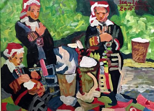 Một tác phẩm của họa sĩ Tô Ngọc Thành tại triển lãm.